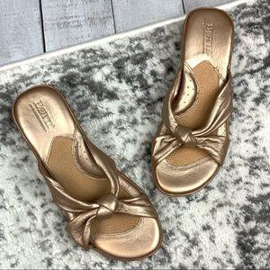Born metallic bronze heeled sandals